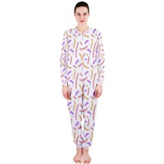 Confetti Background Pink Purple Yellow On White Background Onepiece Jumpsuit (ladies)