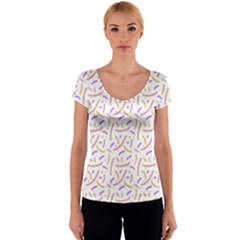Confetti Background Pink Purple Yellow On White Background Women s V-Neck Cap Sleeve Top