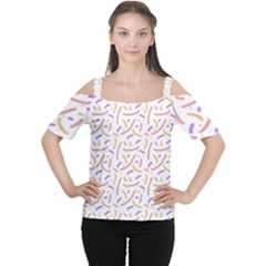 Confetti Background Pink Purple Yellow On White Background Women s Cutout Shoulder Tee
