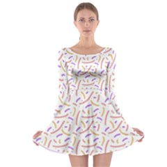 Confetti Background Pink Purple Yellow On White Background Long Sleeve Skater Dress