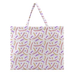 Confetti Background Pink Purple Yellow On White Background Zipper Large Tote Bag