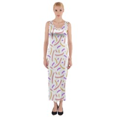 Confetti Background Pink Purple Yellow On White Background Fitted Maxi Dress