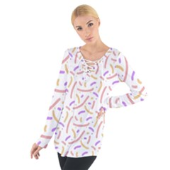 Confetti Background Pink Purple Yellow On White Background Women s Tie Up Tee