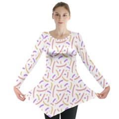 Confetti Background Pink Purple Yellow On White Background Long Sleeve Tunic