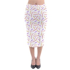 Confetti Background Pink Purple Yellow On White Background Midi Pencil Skirt