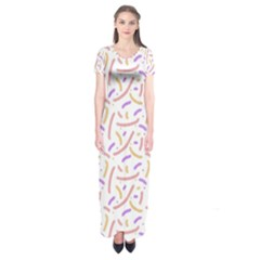 Confetti Background Pink Purple Yellow On White Background Short Sleeve Maxi Dress