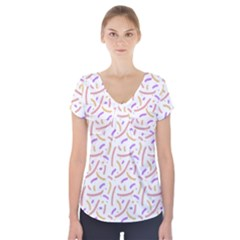 Confetti Background Pink Purple Yellow On White Background Short Sleeve Front Detail Top