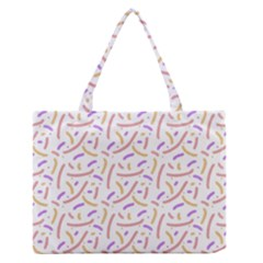 Confetti Background Pink Purple Yellow On White Background Medium Zipper Tote Bag