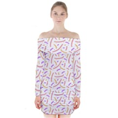 Confetti Background Pink Purple Yellow On White Background Long Sleeve Off Shoulder Dress