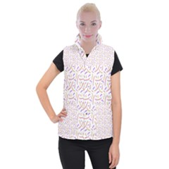 Confetti Background Pink Purple Yellow On White Background Women s Button Up Puffer Vest