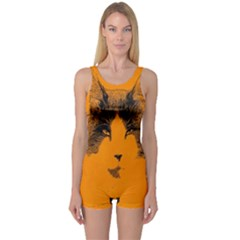 Cat Graphic Art One Piece Boyleg Swimsuit