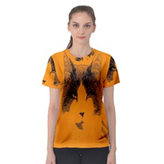 Cat Graphic Art Women s Sport Mesh Tee