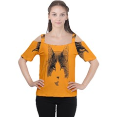 Cat Graphic Art Women s Cutout Shoulder Tee