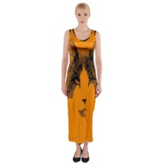 Cat Graphic Art Fitted Maxi Dress