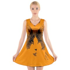 Cat Graphic Art V Neck Sleeveless Skater Dress