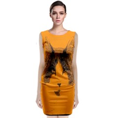 Cat Graphic Art Classic Sleeveless Midi Dress