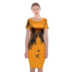 Cat Graphic Art Classic Short Sleeve Midi Dress