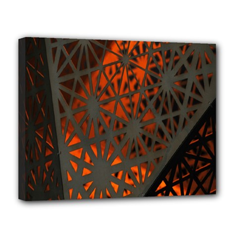 Abstract Lighted Wallpaper Of A Metal Starburst Grid With Orange Back Lighting Canvas 14  x 11