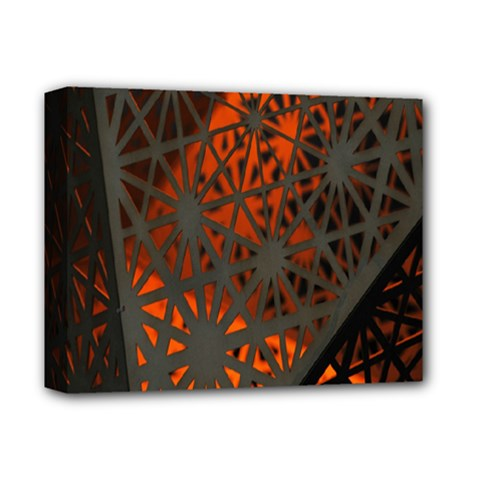Abstract Lighted Wallpaper Of A Metal Starburst Grid With Orange Back Lighting Deluxe Canvas 14  x 11