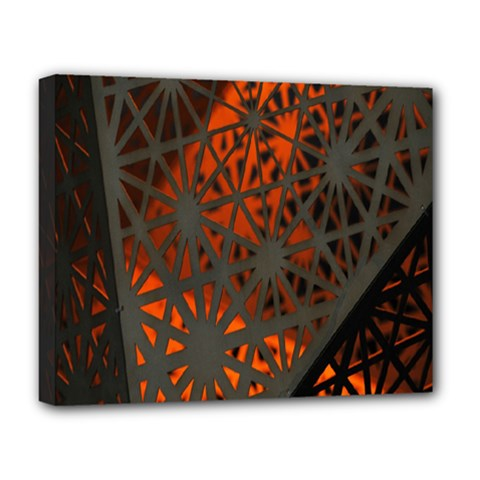 Abstract Lighted Wallpaper Of A Metal Starburst Grid With Orange Back Lighting Deluxe Canvas 20  x 16