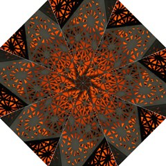 Abstract Lighted Wallpaper Of A Metal Starburst Grid With Orange Back Lighting Golf Umbrellas