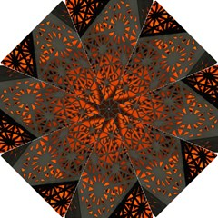 Abstract Lighted Wallpaper Of A Metal Starburst Grid With Orange Back Lighting Hook Handle Umbrellas (Small)