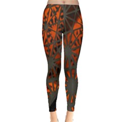 Abstract Lighted Wallpaper Of A Metal Starburst Grid With Orange Back Lighting Leggings