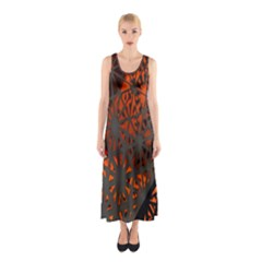 Abstract Lighted Wallpaper Of A Metal Starburst Grid With Orange Back Lighting Sleeveless Maxi Dress