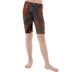 Abstract Lighted Wallpaper Of A Metal Starburst Grid With Orange Back Lighting Kids  Mid Length Swim Shorts
