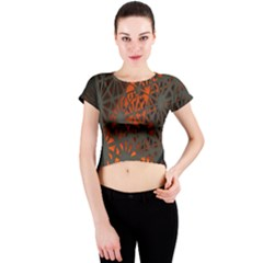 Abstract Lighted Wallpaper Of A Metal Starburst Grid With Orange Back Lighting Crew Neck Crop Top