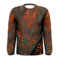 Abstract Lighted Wallpaper Of A Metal Starburst Grid With Orange Back Lighting Men s Long Sleeve Tee