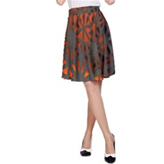 Abstract Lighted Wallpaper Of A Metal Starburst Grid With Orange Back Lighting A-Line Skirt