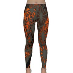 Abstract Lighted Wallpaper Of A Metal Starburst Grid With Orange Back Lighting Classic Yoga Leggings