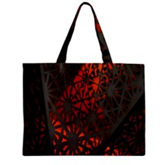 Abstract Lighted Wallpaper Of A Metal Starburst Grid With Orange Back Lighting Zipper Mini Tote Bag