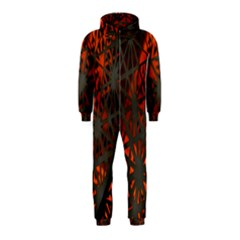 Abstract Lighted Wallpaper Of A Metal Starburst Grid With Orange Back Lighting Hooded Jumpsuit (Kids)