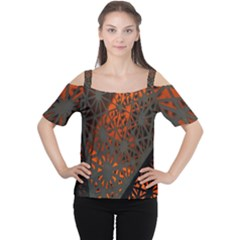 Abstract Lighted Wallpaper Of A Metal Starburst Grid With Orange Back Lighting Women s Cutout Shoulder Tee