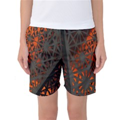 Abstract Lighted Wallpaper Of A Metal Starburst Grid With Orange Back Lighting Women s Basketball Shorts
