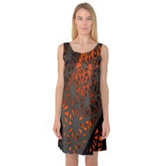 Abstract Lighted Wallpaper Of A Metal Starburst Grid With Orange Back Lighting Sleeveless Satin Nightdress