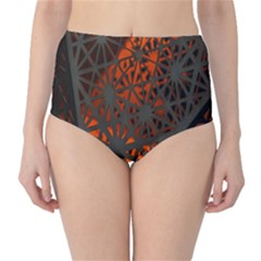 Abstract Lighted Wallpaper Of A Metal Starburst Grid With Orange Back Lighting High-Waist Bikini Bottoms