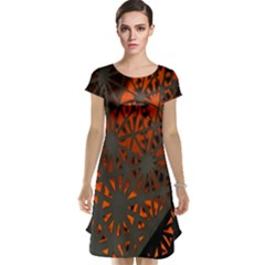 Abstract Lighted Wallpaper Of A Metal Starburst Grid With Orange Back Lighting Cap Sleeve Nightdress