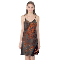 Abstract Lighted Wallpaper Of A Metal Starburst Grid With Orange Back Lighting Camis Nightgown