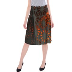 Abstract Lighted Wallpaper Of A Metal Starburst Grid With Orange Back Lighting Midi Beach Skirt