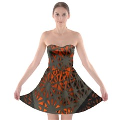 Abstract Lighted Wallpaper Of A Metal Starburst Grid With Orange Back Lighting Strapless Bra Top Dress