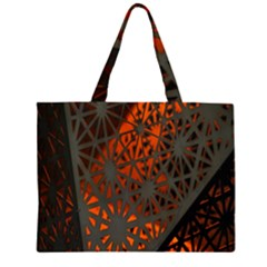Abstract Lighted Wallpaper Of A Metal Starburst Grid With Orange Back Lighting Large Tote Bag