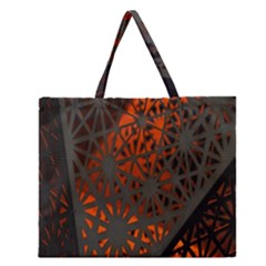 Abstract Lighted Wallpaper Of A Metal Starburst Grid With Orange Back Lighting Zipper Large Tote Bag