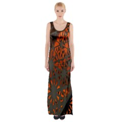 Abstract Lighted Wallpaper Of A Metal Starburst Grid With Orange Back Lighting Maxi Thigh Split Dress