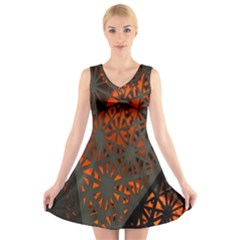 Abstract Lighted Wallpaper Of A Metal Starburst Grid With Orange Back Lighting V Neck Sleeveless Skater Dress