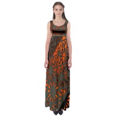 Abstract Lighted Wallpaper Of A Metal Starburst Grid With Orange Back Lighting Empire Waist Maxi Dress