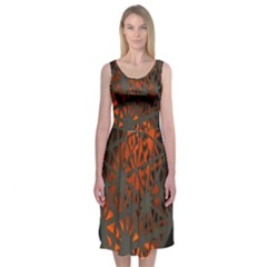 Abstract Lighted Wallpaper Of A Metal Starburst Grid With Orange Back Lighting Midi Sleeveless Dress