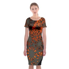 Abstract Lighted Wallpaper Of A Metal Starburst Grid With Orange Back Lighting Classic Short Sleeve Midi Dress